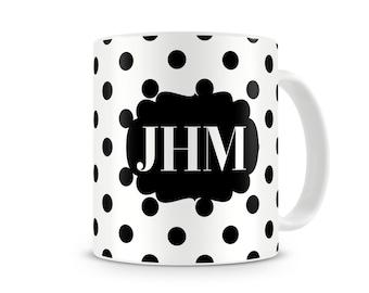 Polka Dot Personalized Coffee, Hot Chocolate Mug, 11 oz Ceramic Coffee Mug,15 oz Ceramic Coffee Mug, Custom Monogrammed Mug, Floral Mug