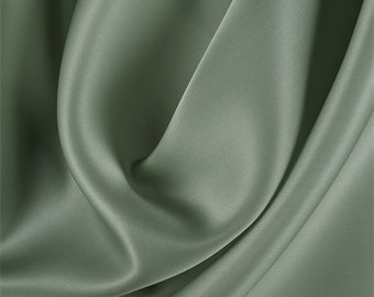 Dark Sage Silk Satin Organza, Fabric By The Yard