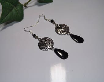 "earring sequin black enamel, ""Apollo"""