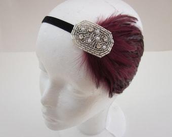 Silver headband, burgundy feather headband, Valentine's Day headband, great gatsby flapper 1920s headpiece, pearls rhinestones wedding prom