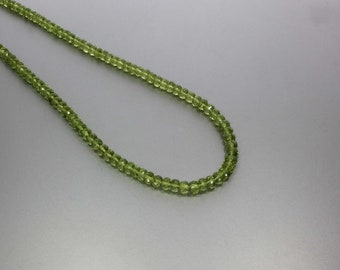 Peridot Faceted Rondelle 5 to 5.5 mm AA Necklace for Women