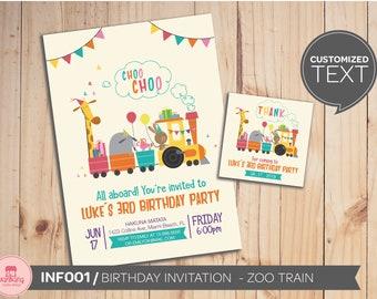 Zoo train Birthday Invitation, Animal Train Birthday Party, Digital File
