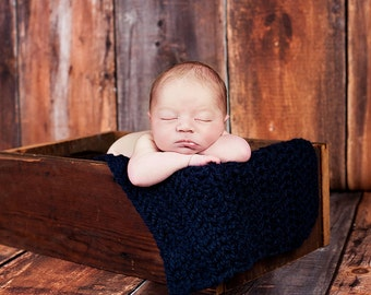 Newborn Baby Blanket Baby Gift Newborn Blanket Basket Stuffer Newborn Baby Boy Blanket Photo Props Newborn Photography Props Navy Blue