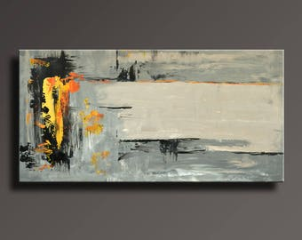 ABSTRACT PAINTING Black Gray Orange Painting Original Canvas Art Contemporary Abstract Modern Art 48x24 wall decor #15Gi4
