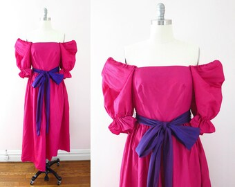 Vintage 80s Dress | 1980s Magenta Pink Bridesmaid Prom Dress M | Costume Ren Faire Halloween