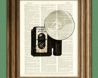 Antique Argus Seventy-Five 75 Camera with Flash print over an upcycled vintage dictionary page book art
