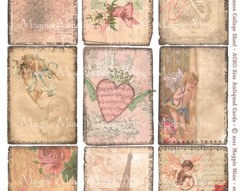 Old Fashioned Romance Digital Collage Sheet - ACEO Sized Antiqued Grungy Images - Instant Download - Printable