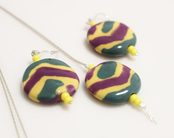African Kazuri Bead Necklace and Earrings, Kazuri Bead Jewelry, Ethnic Jewelry