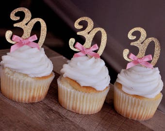 30th Birthday Cupcake Toppers 12CT.  Handcrafted in 2-5 Business Days.  30th Birthday Decoration.