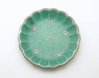 Vintage Gustavsberg Argenta Pottery Trinket Dish Ring Holder Sweden