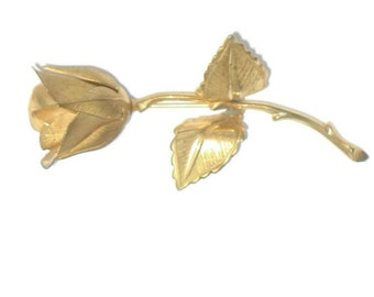 Rose Gold Toned Brooch Giovanni Longcraft Pin Floral Brooch Large Gold Toned Vintage Rose Brooch  Gift for Her Gift for Mom