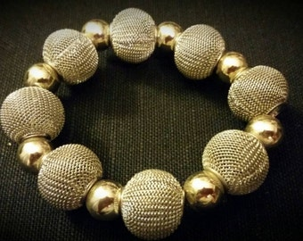 After Life Accessories Repurposed Gold & Silver Mesh Bead Stretch Bracelet