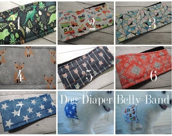 Dog Diaper Belly Band, Waterproof PUL, Stop Marking, WeeWrap,  Personalized