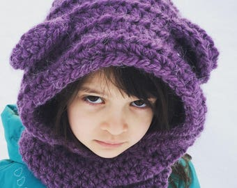 Purple hooded cowl with ears