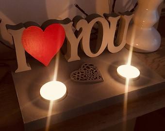 I LOVE YOU candleholder