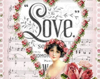 Large digital download Loves Garden of  Pink Roses vintage Music cover Valentine single image ECS buy 3 get one free ECS