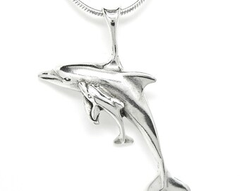 Dolphin with Calf Sterling Silver Sea Life Charm Pendant Customize no. 1906