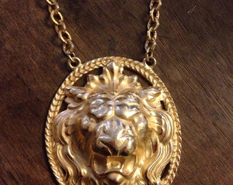 NAPIER Lion Statement Necklace 30""