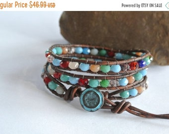 SALE 50% OFF Circus Ole Crystal Beaded Leather Wrap Bracelet