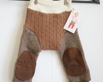 brown longies with knee patches and LOVE embroidery - MEDIUM 6 to 12 months - hybrid longies - diaper cover and pants in one - cuffed