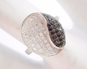Sterling Silver Pave Set Black & White Cubic Zirconia Ring Sz 6 #3004