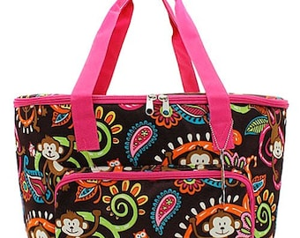 Monkey Paisley Print Large insulated cooler bag