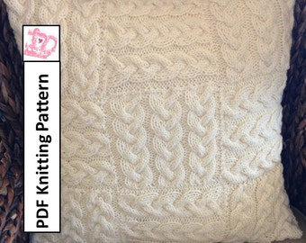 """Cable knit pillow cover, knit pattern pdf, Braided Blocks 20""""/50cm square pillow cover - PDF KNITTING PATTERN"""