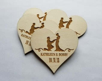 Wood Save the Date Heart Magnets, Personalized Saved the Dates, Any quantity, Quick Production Time