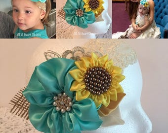 Sunflower Headband, Flower Girl Sunflower Headband, Flower Girl Headband with Sunflower and Aqua Flower, Bronze Pearls and Lace Headband