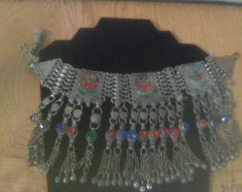 Vintage Chain and Enamel Neckalce Possible Antique Cloth Leather Tie    ****Antique-Vintage*********