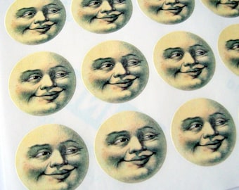 Man in the Moon, Moon Face, 30 Stickers, Sticker Sheet, Medium, 1.5 Inches