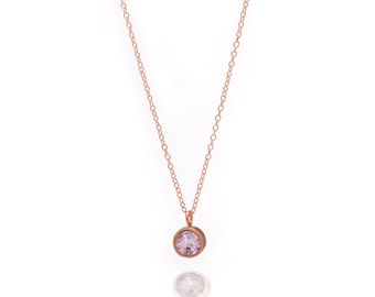Gemstone POP Necklace - Rose Gold Necklace - Amethyst Necklace - Small Gemstone Pendant Necklace - 18k Rose Gold Vermeil