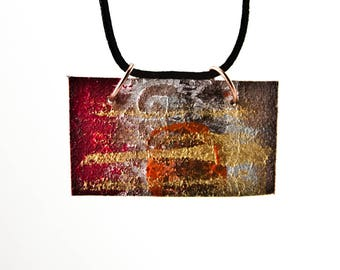 Unique Statement Jewelry Necklace - Colorful Painted Pendant - Rustic Primitive - Boho Gift Ideas Cyber Monday