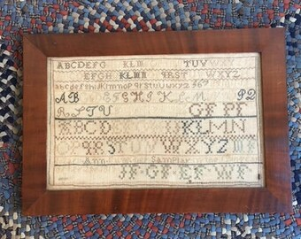 Antique Sampler, Needlework, by Mary Ann Funk, Aged 12 Dated 1815