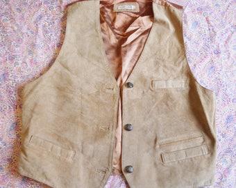80s vest South Lodge Vintage vest tan leather vest Western Cowboy Hipster Boho suede vest large
