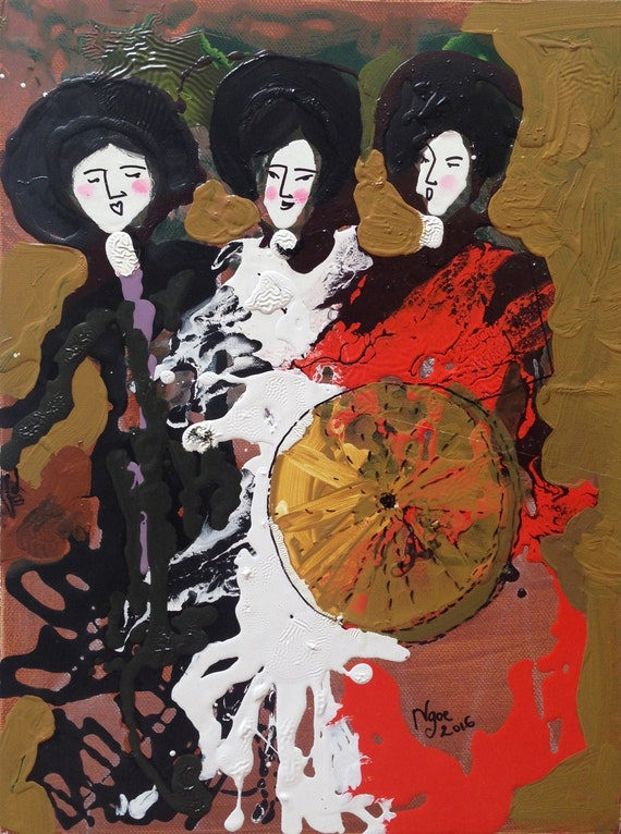 """HEY SISTERS! (Vietnamese Chèo Opera) 12x16"""" Oil on Canvas, Original Painting by Nguyen Ly Phuong Ngoc"""