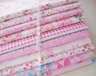 """Set of 10 Bundle / Pink Bundle Fabric / Quilting Fabric Bundle/ Pink Floral Cotton Collection- Cotton Fabric Bundle each 16""""X24"""""""