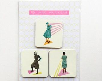 Square Wood Fridge Magnets - Modern Women