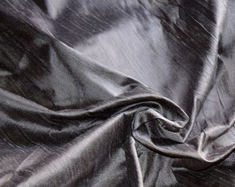 Silk dupioni in  Charcoal grey with black shimmer,Extra wide  54 inches , Half yard, DEX  298