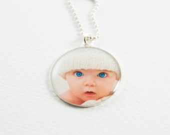 Silver Photo Necklace | Custom Photo Pendant | Personalized Gift | Gift for Parent | Sterling Silver Necklace | Personalized Photo Jewelry