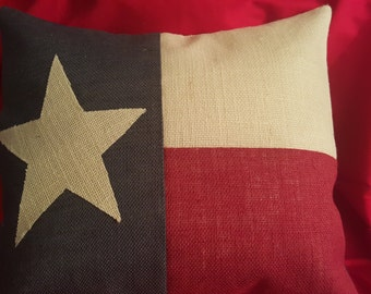 Burlap Texas Flag Pillow