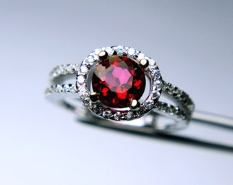 Fascinating Genuine Peony Topaz in a Glowing Accented Sterling Silver Setting