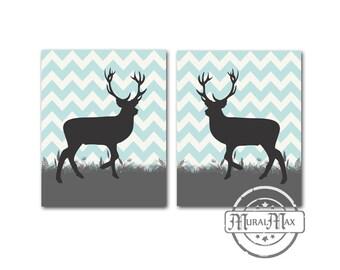 Deer Prints,Boy Nursery Art, wall art ,Boys' woodland Animal set of  two 8 x 10 prints