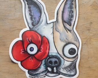 French bulldog, vinyl sticker, frenchie, sticker, boston terrier
