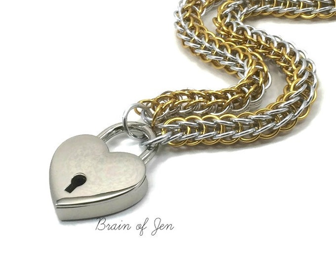 Submissive Day Collar Silver and Gold Chainmail Slave Collar Heart Padlock
