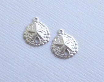 Sterling Silver Sand Dollar Charms -- 2 Pieces Thin Stamping Small Size HBSL760
