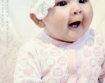 SALE 0 to 3m Newborn Crochet Flower Headband Sparkle Ruffle Rosette Baby Shower Gift White Baby Headband Wedding Baby Prop Costume