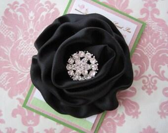 Girl hair clips - black flower hair clips - girl barrettes
