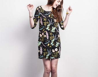 Shift Dress - Organic Cotton - Hand Printed - Black 'Desert Floral'- Summer Wedding - Slow Fashion - Eco Fashion - Thief&Bandit®