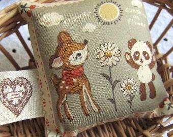 Vintage shabby chic pincushion - Sunshine on Panda and bambi